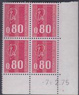 France N° 1816 XX Marianne De Bequet : 80 C. Rouge En Bloc De 4 Coin Daté Du 7 . 2 . 75 ;  3 Bdes Phosp Ss Ch., TB - 1970-1979