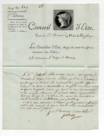 !!! CACHET CONSEILLER D'ETAT CULTES SUR LETTRE DE PORTALIS DE 1803 AVEC VIGNETTE GRAVEE AYANT SERVI A UN ESSAI DE TIMBRE - Marcofilie (Brieven)