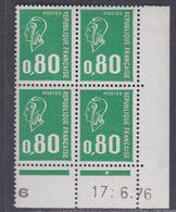 France N° 1891  XX Ma. Bequet : 80 C. Vert En Bloc De 4 Coin Daté Du 17 . 6 . 76 ; 1 Pt Blanc, 1 Bde Phosp Ss Ch., TB - Coins Datés