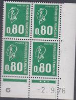 France N° 1891  XX Ma. Bequet : 80 C. Vert En Bloc De 4 Coin Daté Du 2 . 9 . 76 ; 3 Pts Blancs, 1 Bde Phosp Ss Ch., TB - Coins Datés