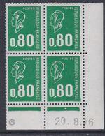 France N° 1891  XX Ma. Bequet : 80 C. Vert En Bloc De 4 Coin Daté Du 20 . 8 . 76 ; 1 Pt Blanc, 1 Bde Phosp Ss Ch., TB - Coins Datés