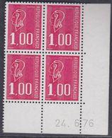 France N° 1892  XX Marianne De Bequet : 1 F. Rouge En Bloc De 4 Coin Daté Du 24 . 6 . 76 ; 3 Bdes  Phosp  Ss Ch., TB - Coins Datés