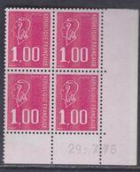 France N° 1892  XX Marianne De Bequet : 1 F. Rouge En Bloc De 4 Coin Daté Du 29 . 7 . 76 ; 3 Bdes  Phosp  Ss Ch., TB - Coins Datés