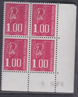 France N° 1892  XX Marianne De Bequet : 1 F. Rouge En Bloc De 4 Coin Daté Du 9 . 9 . 76 ; 3 Bdes  Phosp  Ss Ch., TB - Coins Datés