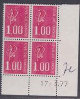 France N° 1892  XX Marianne De Bequet : 1 F. Rouge En Bloc De 4 Coin Daté Du 17 . 3 . 77 ; 3 Bdes  Phosp  Ss Ch., TB - Coins Datés
