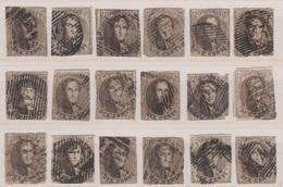 RéfP. 144 - Belgique - 1858 - Obl. - COB 10 & 10B - 18 Pcs  - - 1858-1862 Medallions (9/12)