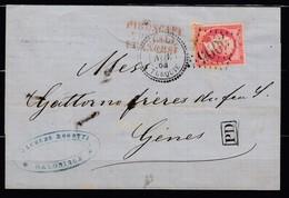 LSC N24 GC5095 Salonique-Genes CaD T22 Perlé Salonique, Griffe Rouge Piroscafi Postali Francesi - 1862 Napoleon III