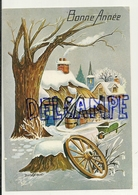 Bonne Année. Village Sous La Neige. Roue, Brouette. Photochrom - Nouvel An