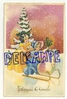 Bonne Année. Deux Petites Filles (Belle Epoque) Sur Un Traineau, Cadeaux, Houx. 1948. Coloprint Spécial 2146 - Nouvel An