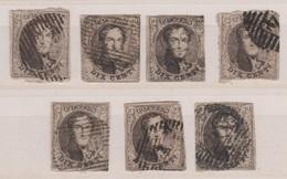 RéfP. 164 - Belgique - 1851 - Obl. - COB 6  - Divers  7 Pcs  - - 1851-1857 Medallions (6/8)