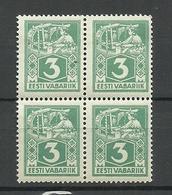 ESTLAND Estonia 1922 Michel 36 A Hor. Ribbed Paper Type Als 4-Block MNH - Estland