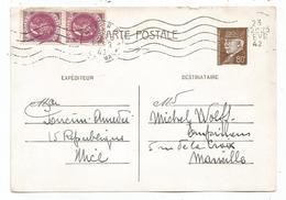 PETAIN 20C ROSE PAIRE SUR ENTIER 80C PETAIN NICE 23 FEVR 1942 PAS AU TARIF - 1941-42 Pétain