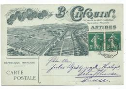 N°137X2 BELLE CARTE ILLUSTREE B CINQUIN ANTIBES OBL CONVOYEUR VINTIMILLE A MARSEILLE 1910 POUR SUISSE - Marcophilie (Lettres)