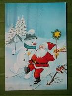 Kov 8-126 - NEW YEAR, BONNE ANNEE, Santa Claus, Père Noël, Snowman, Bonhomme De Neige, BIRD, OISEAU - Anno Nuovo
