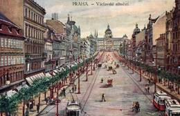 CPA - PRAGUE - Vue De La Ville (tramway) - Carte Illustrée - Tschechische Republik