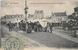 72, Sarthe, LE MANS, La Place De La Mission, Un Jour De Marché, Scan Recto-Verso - Le Mans