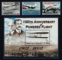 Norfolk-Insel 2003 - Mi-Nr. 852-854 & Block 43 ** - MNH - Flugzeuge / Airplanes - Norfolkinsel