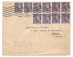 MERCURE 40CX10 LETTRE LYON GARE 1943 POUR SUISSE + CENSURE NAZI AU TARIF - 1938-42 Mercure