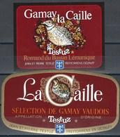 Etiquette De Vin Du Canton De Vaud  * Testuz - La Caille  * - Etiquettes