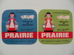 2 Etiquettes Fromage - PRAIRIE - Fromagerie Des Ducs F.Paul-Renard 89-E Bourgogne Export - Yonne  A Voir ! - Quesos