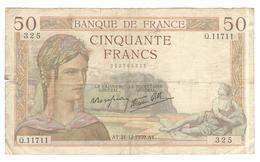 Billet 50 Francs France Cérès 21-12-1939 - 1871-1952 Frühe Francs Des 20. Jh.