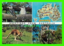 AUSTRALIE - CARTE GÉOGRAPHIQUE & ANIMAUX - 4 MULTIVUES - KRUGER - - Australie