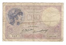 Billet 5 Francs France Violet 28_12_1926 - 1871-1952 Anciens Francs Circulés Au XXème