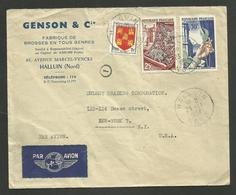 "HALLUIN - NORD / Enveloppe Commerciale "" GENSON - Fabrique De Brosses "" / Avion >>> U.S.A. 23.11.1954 - Marcofilia (sobres)"