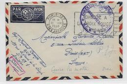 1948 - INDOCHINE - ENVELOPPE Par AVION Du GCR à SAÏGON => PARIS => CUISE LA MOTTE (OISE) - Postmark Collection (Covers)