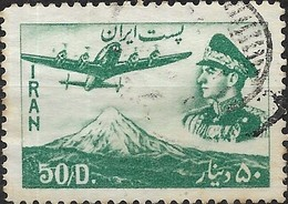1952 Air. Sh Ah And Lockheed Super Constellation Airplane Over Mt. Demavend - 50d - Green FU - Iran
