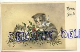 Bonne Année. Deux Petits Chats Qui Jouent. Gui, Houx. 1957. Coloprint Spécial 44350/1 - Nieuwjaar