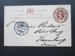 GB 1896 Kolonie Cape Of Good Hope Ganzsache GA Sauber Gestempelt Port Elizabeth Nach Hamburg Mit Ak Stempel - África Del Sur (...-1961)