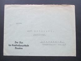 DR Ca. 1930er Jahre Brief Vom Rat Der Landeshauptstadt Dresden Mit Rückseitiger Vignette Schul - Amt - Briefe U. Dokumente