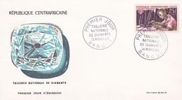 REPUBLIQUE CENTRAFRICAINE, 1er Jour Bangui, 14 Mars 66, Taillerie Nationale De Diamants - Centrafricaine (République)