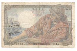 Billet 20 Francs France Pécheur 12-2-1942.O. Première Date - 1871-1952 Anciens Francs Circulés Au XXème