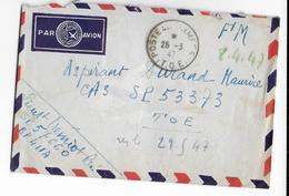 1947 - INDOCHINE - ENVELOPPE FM Par AVION Du BPM 411A à SAVANNAKHET => SP 53373 TOE - War Of Indo-China / Vietnam