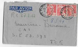 1947 - INDOCHINE - ENVELOPPE  Par AVION De PARIS  Avec GANDON => SP 53373 TOE - Marcophilie (Lettres)
