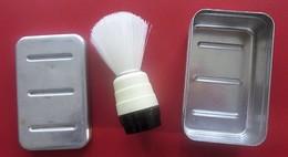 Vintage Beau Blaireau à Raser Fibres Synthétiques Grande Qualité Pur Pinceau Rasage+Boite Aluminium Bachler Chateaudun - Accessoires