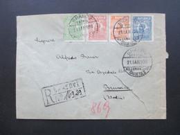 Rumänien 1928 Vierfarbenfrankatur / 4 Marken Einschreiben Brasov Central Recomandate Mit 8 Stempeln Nach Italien - Covers & Documents