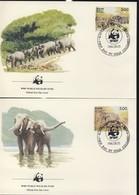 WWF  4 FDC 1986 SRI-LANKA ELEPHANTS  YVERT N°768/71 - FDC