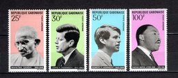 GABON PA N° 80 à 83  NEUFS SANS CHARNIERE COTE 6.00€  HOMMES CELEBRES GANDHI KENNEDY LUTHER KING - Gabon (1960-...)