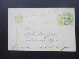 Rumänien 1911 Ganzsache Mit Zusatzfrankatur 2 Grüntöne!! Nach Leipzig Gesendet! Buzan - 1881-1918: Charles I
