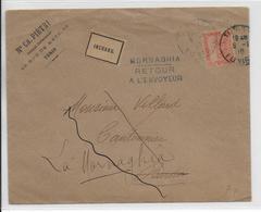TUNISIE - 1910 - ENVELOPPE De TUNIS => MORNAGHIA AVEC RARE ET SUPERBE CACHET LOCAL DE RETOUR à L'ENVOYEUR - Storia Postale