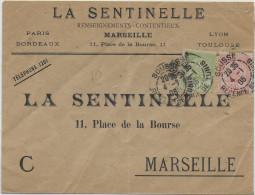 TUNISIE - 1905 - ENVELOPPE COMMERCIALE De SOUSSE => MARSEILLE - Covers & Documents