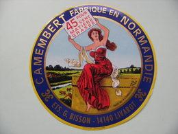 Etiquette Camembert - Ets.G.Bisson - Fromagerie Bisson à Livarot 14-BK Normandie - Calvados  A Voir ! - Quesos