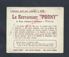 CARTE PUBLICITAIRE LE RESTAURANT PRONY HOTEL OSTENDE 3 RUE ALSACE LORRAINE À NICE : - Autres
