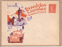 PARIS 1931 - SOUVENIR DE L' EXPOSITION COLONIALE INTERNATIONALE - ENTIER POSTAL SEMEUSE  50 C - Entiers Postaux