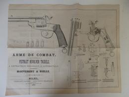Plan De L'arme De Combat, Pistolet Révolver Tackels à Extracteur, Mouvement à Bielle. Soleil Fabricant à Liège. - Militaria