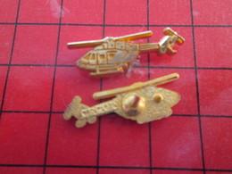 413B Pin's Pins / Beau Et Rare / THEME : AVIATION / HELICOPTERE METAL JAUNE Par CECOM - Airplanes