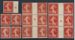 CR-33: FRANCE: Lot  Avec N°135:  135**(2)-135*(3)-+ 2bloc De 6 Millésime 6 Neufs Sans Gomme - 1906-38 Semeuse Camée
